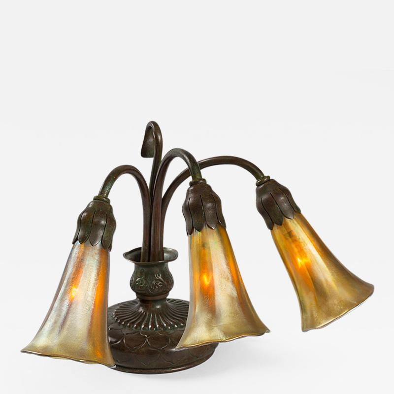 Tiffany Studios Three Light Piano Lily Tiffany Lamp