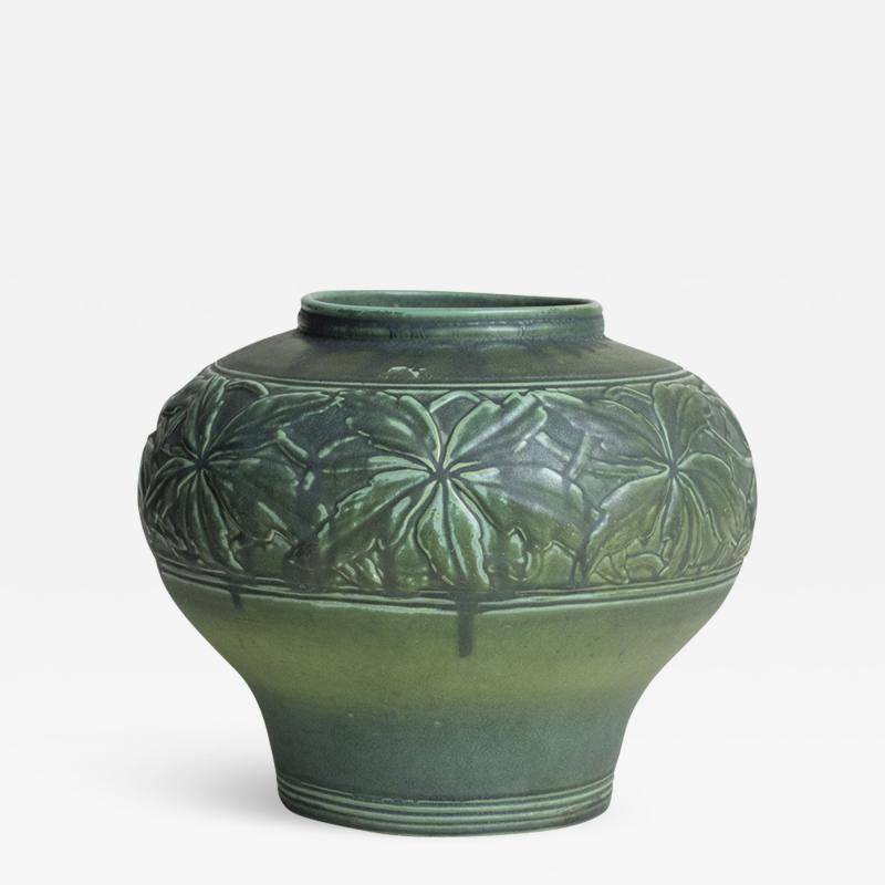 Tiffany Studios Tiffany Favrile Pottery Vase with Chestnut Leaves