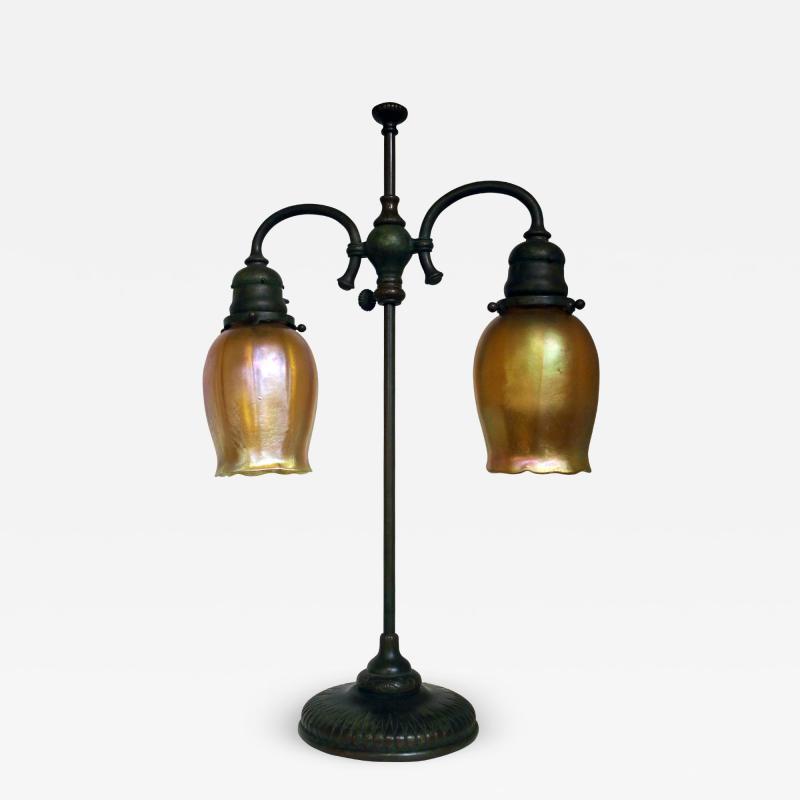 Tiffany Studios Tiffany Studios New York Signed Bronze Double Student Lamp Art Glass Shades