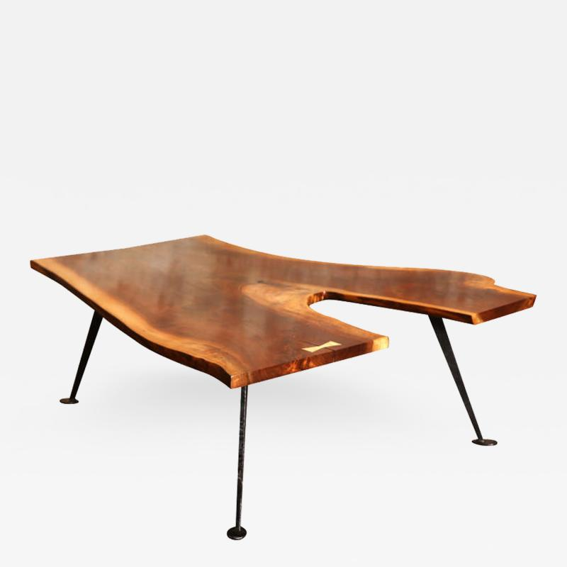 Tim Byrne Industrial Free Form Walnut Coffee Table with Maple Butterfly