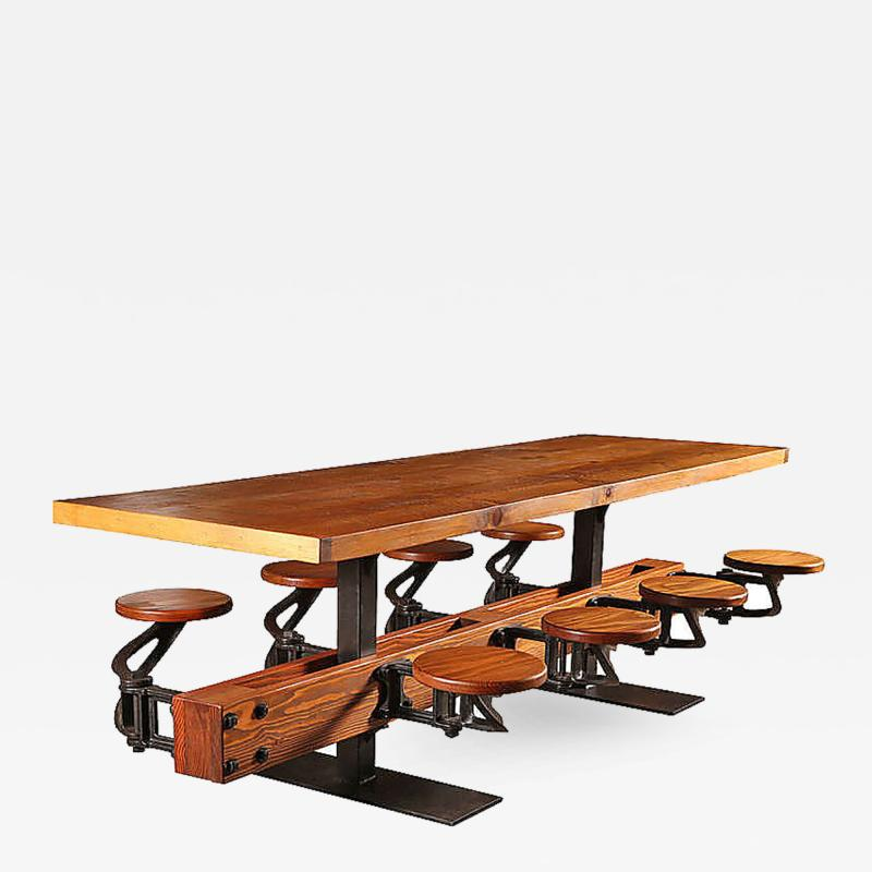 Tim Byrne Swing Out 8 Seat Industrial Brewery Dining Table with Wood Top