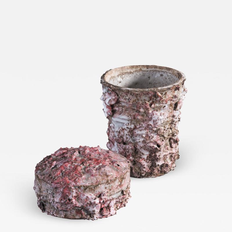 Tina Langhoff Tina Langhoff stoneware and porcelain jar with lid