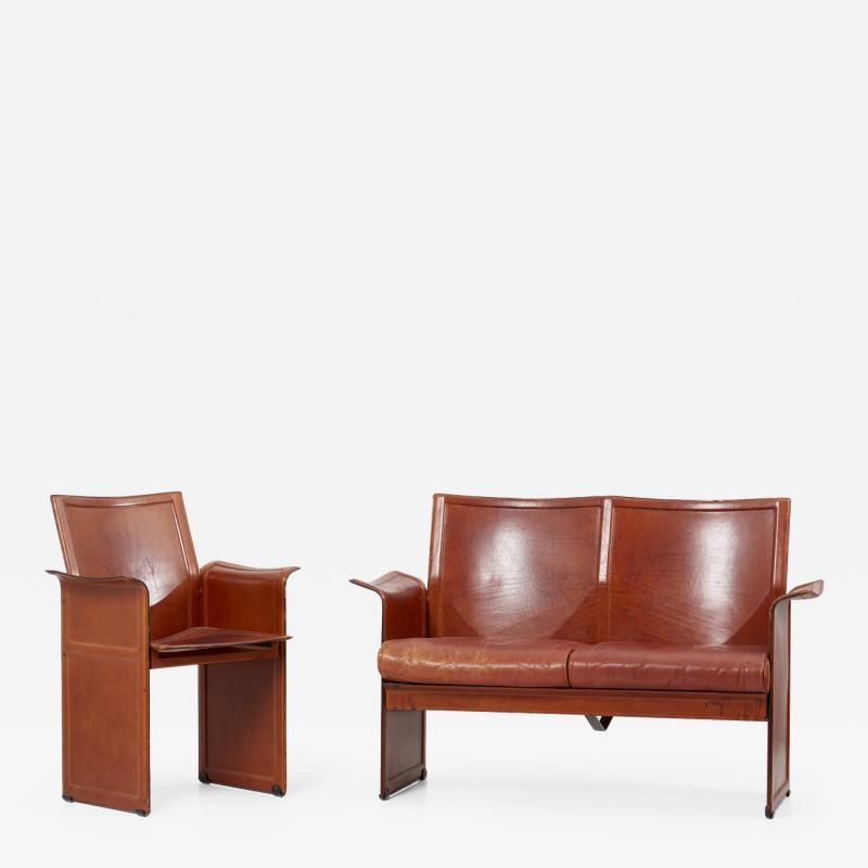 Tito Agnoli Loveseat and Chair by Tito Agnoli for Matteo Grassi in Dark Cognac Leather