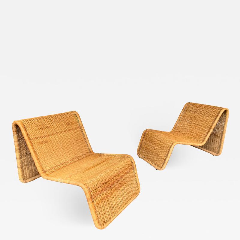 Tito Agnoli Pair of Rattan Lounge Chair P3 by Tito Agnoli Italy 1960s