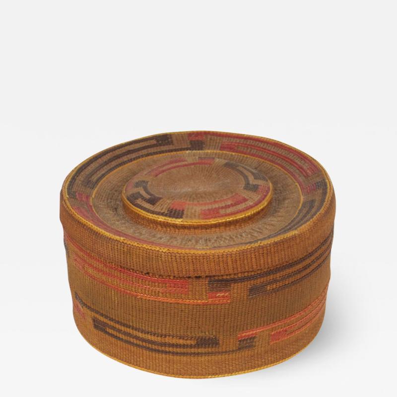 Tlingit lidded rattletop basket