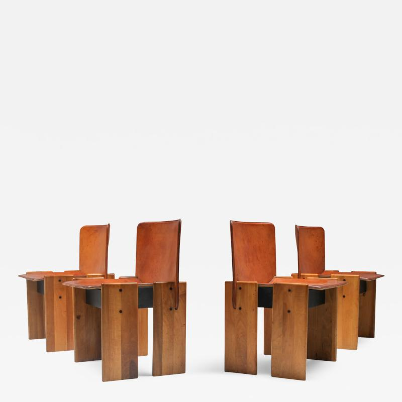 Tobia Scarpa Afra Tobia Scarpa Cognac Dining Chairs 1970s