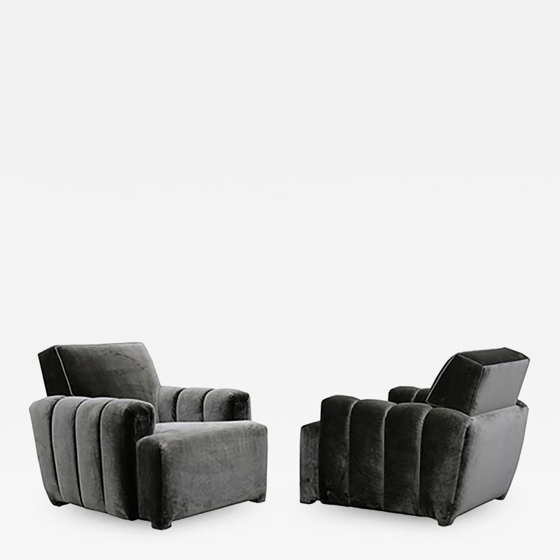 Todd Merrill Todd Merrill Custom Originals Pair of Channel Tufted Club Chairs