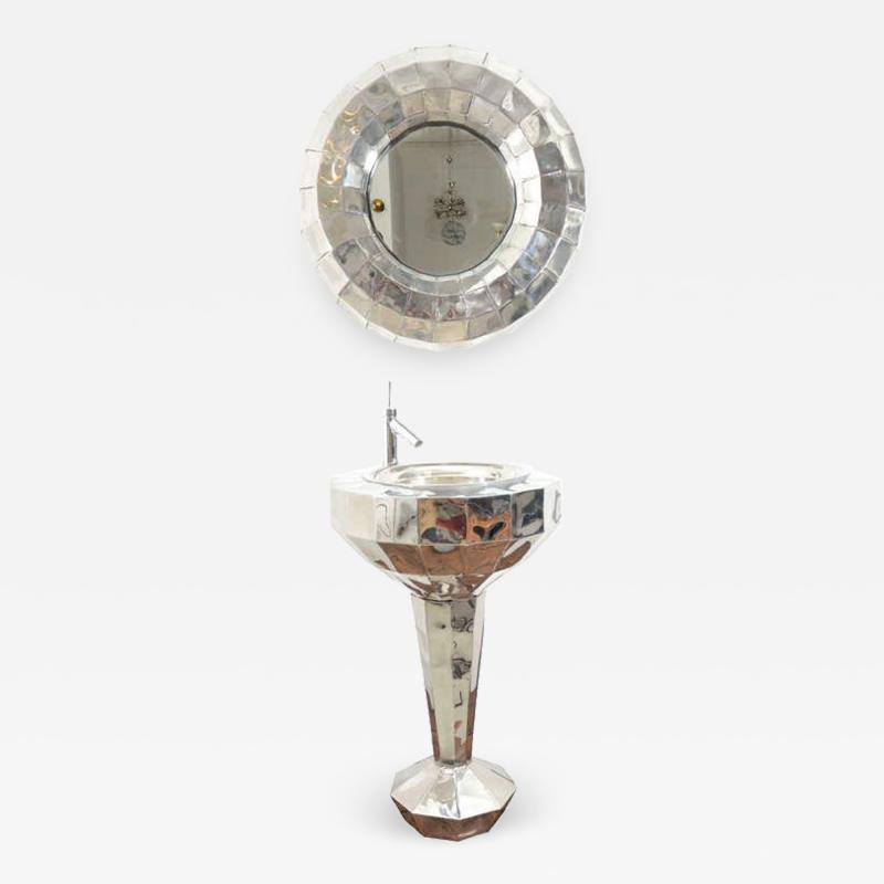 Tom Dixon Tom Dixon Faceted Steel Pedestal Basin and Mirror