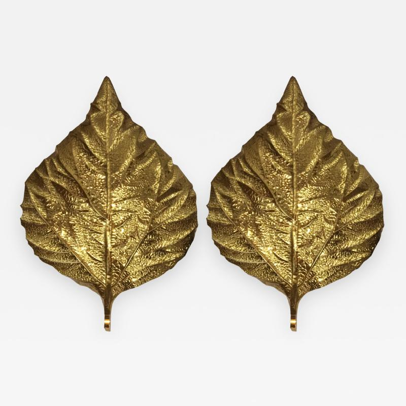 Tommaso Barbi Pair of Large Brass Leaf Sconces by Tommaso Barbi