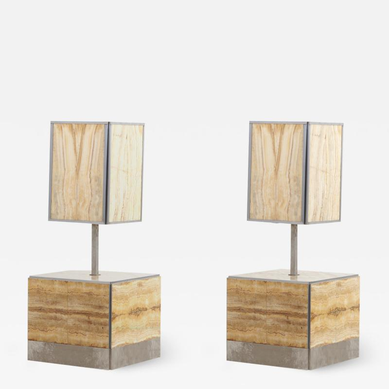 Tommaso Barbi Pair of Tomasso Barbi Side Table and Lamp in Alabaster Italy 1970s