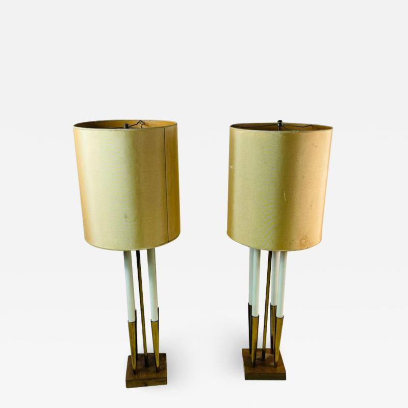 Tommi Parzinger MID CENTURY MODERNIST BRASS LAMPS IN THE MANNER OF TOMMI PARZINGER