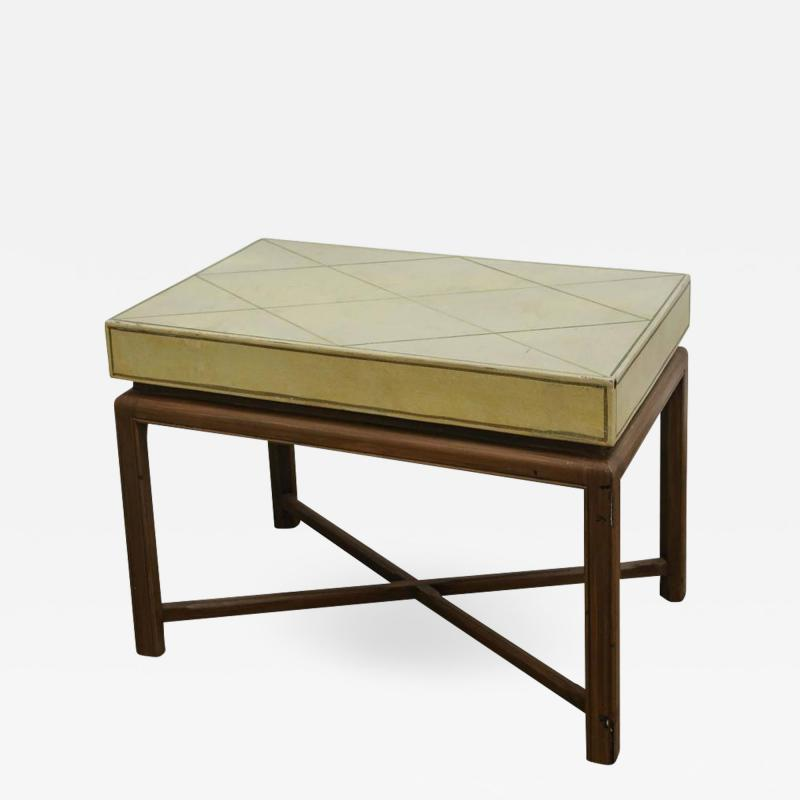 Tommi Parzinger Mid Century Modern Tommi Parzinger Tooled Leather and Lacquered Wood Side Table