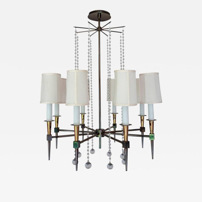 Tommi Parzinger Midcentury Tommi Parzinger Eight Arm Beaded Chandelier
