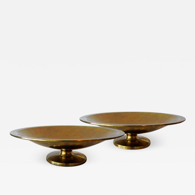 Tommi Parzinger Pair of American Modern Brass Coupes Tommi Parzinger