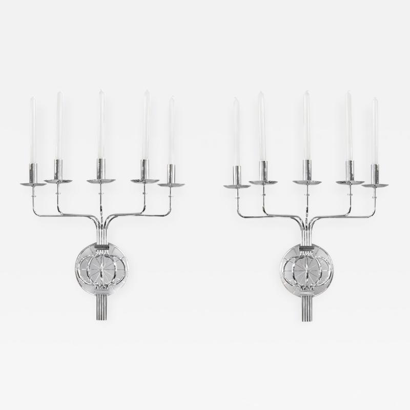Tommi Parzinger Pair of Elegant 5 Arm Candle Sconces by Tommi Parzinger