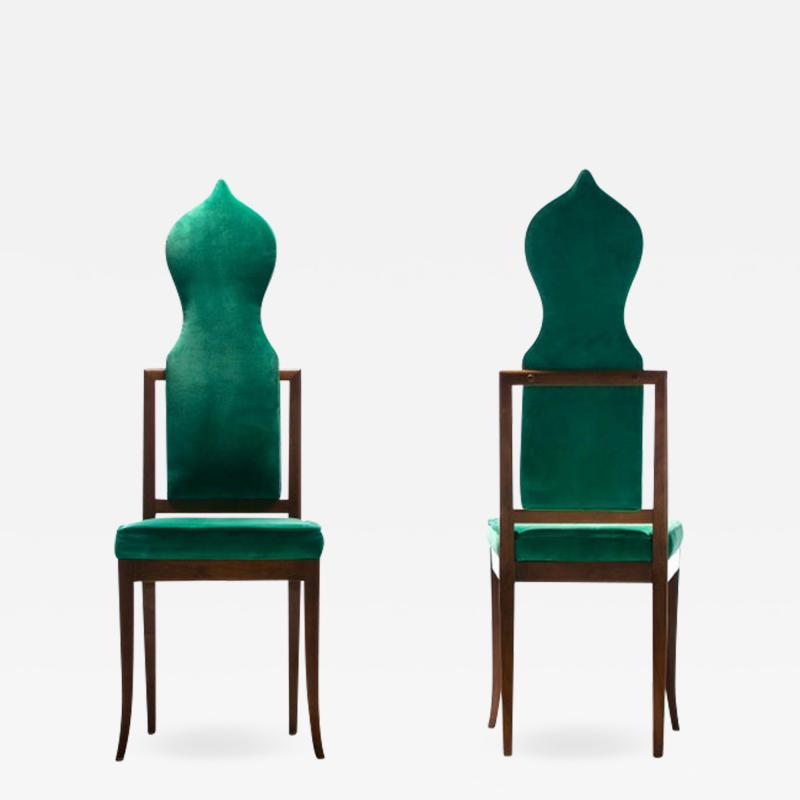 Tommi Parzinger Set of 8 Tommi Parzinger Style Dining Chairs in Green Velvet with Walnut Frames
