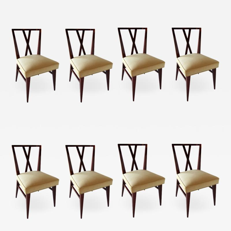 Tommi Parzinger Set of Eight American Modern X back Dining Chairs