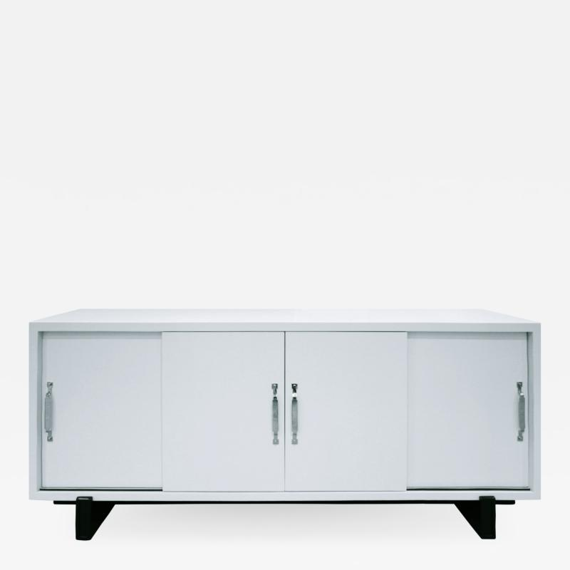 Tommi Parzinger Tommi Parzinger 4 Door Pale Blue Credenza With Nickel Hardware 1960s signed