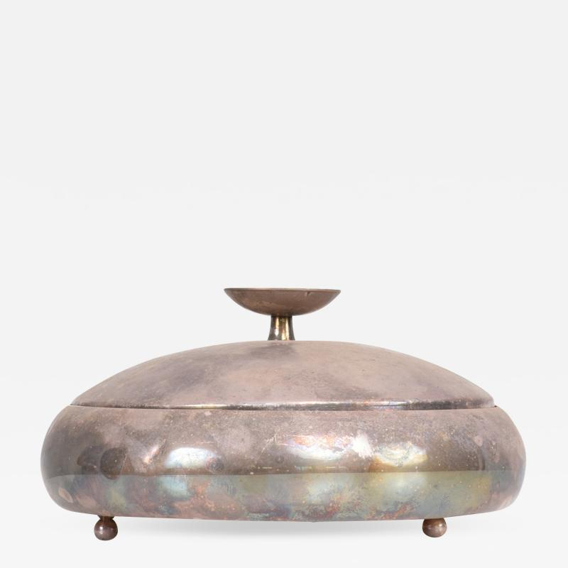 Tommi Parzinger Tommi Parzinger Covered Candy Dish Relish Tray Silver 1950s Midcentury Modern