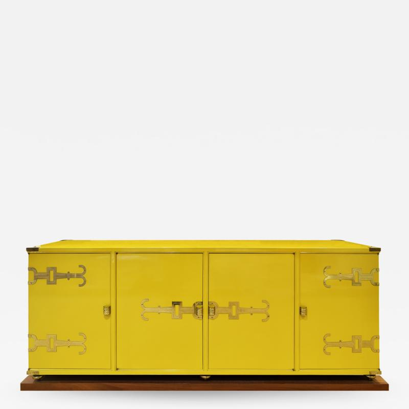 Tommi Parzinger Tommi Parzinger Exquisite Credenza With Iconic Brass Hardware 1950s