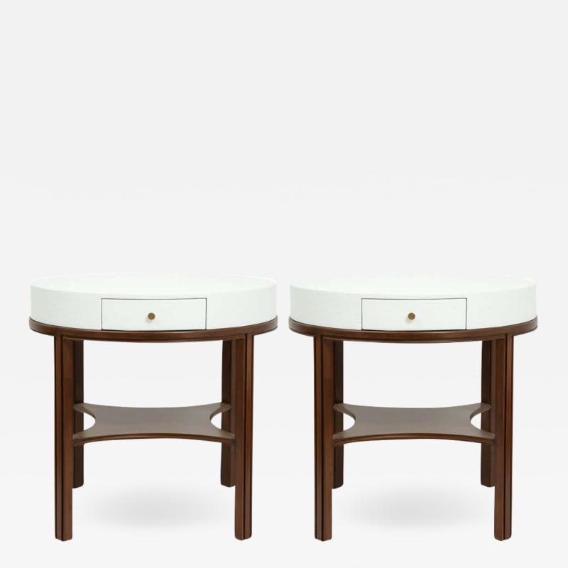 Tommi Parzinger Tommi Parzinger Lacquered Linen Walnut Side Tables