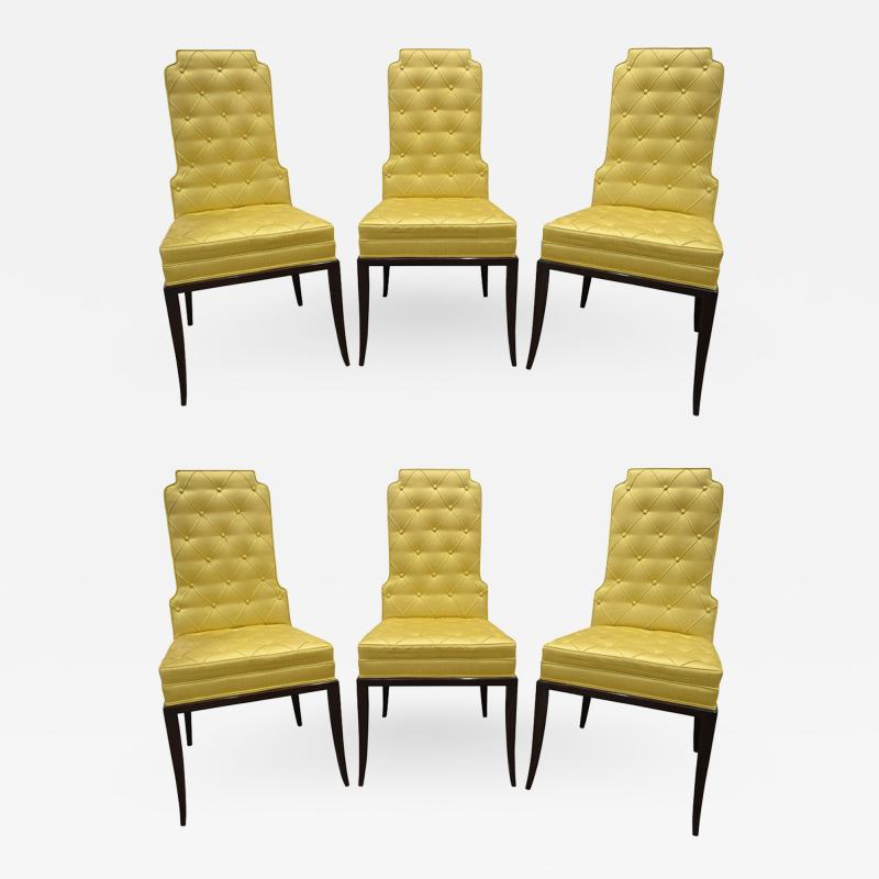 Tommi Parzinger Tommi Parzinger Set of 6 Dining Chairs With Tufted Backs 1950s