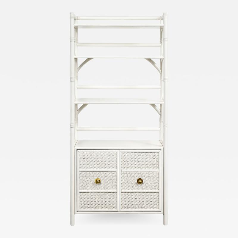 Tommi Parzinger Tommi Parzinger White Lacquered Etagere With Brass Pulls 1950s