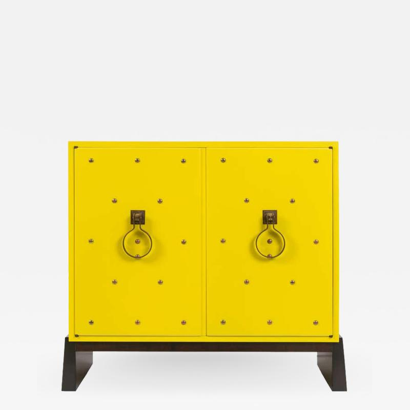 Tommi Parzinger Tommi Parzinger Yellow Lacquered Studded Two Door Cabinet