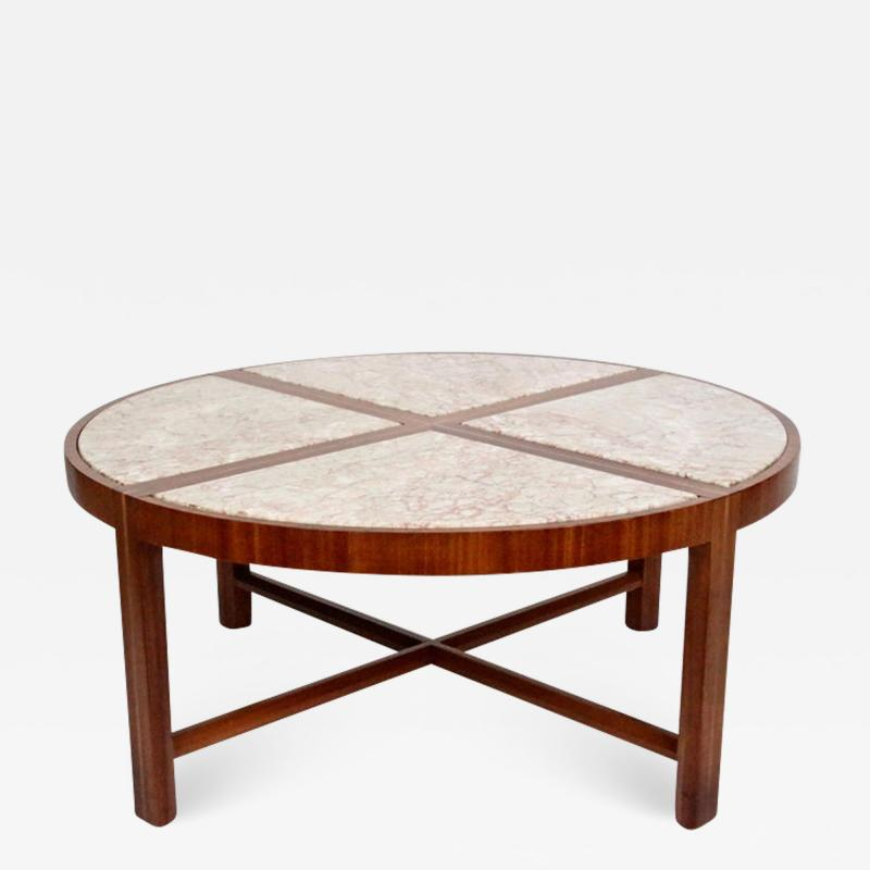 Tommi Parzinger Tommi Parzinger for Charak Modern Mahogany and Marble Coffee Table