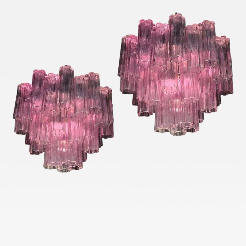 Toni Zuccheri Pair of Pink Tronchi Murano Glass Chandelier by Toni Zuccheri for Venini 1970s