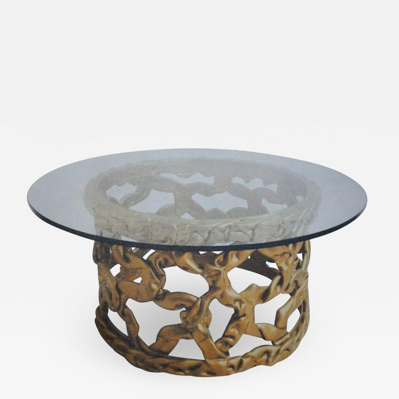 Tony Duquette Gold Ribbon Coffee Table in the style of Tony Duquette