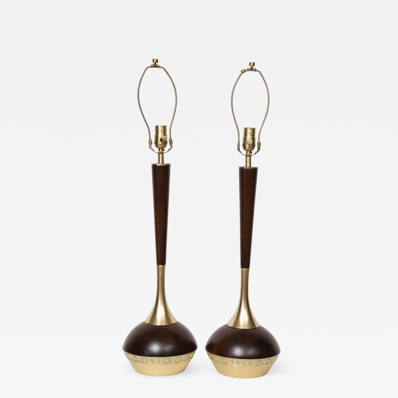Tony Paul Tony Paul Mid Century Walnut Brass Lamps