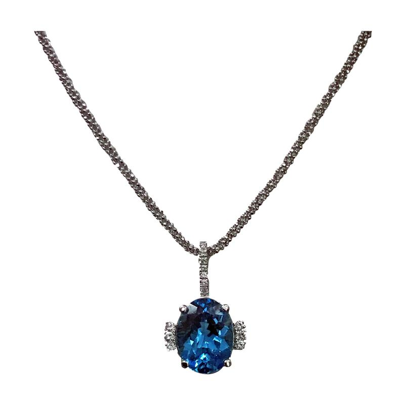 Topaz and Diamond Necklace Pendant with 14K chain