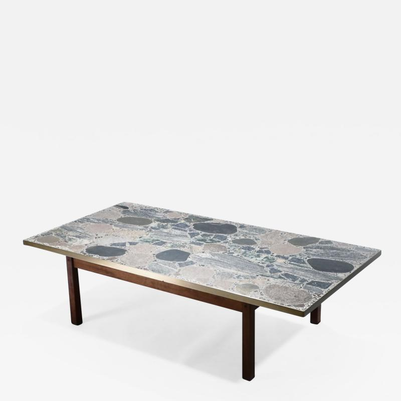 Torbj rn Afdal Large stones and brass coffee table by Torbj rn Afdal 1960s