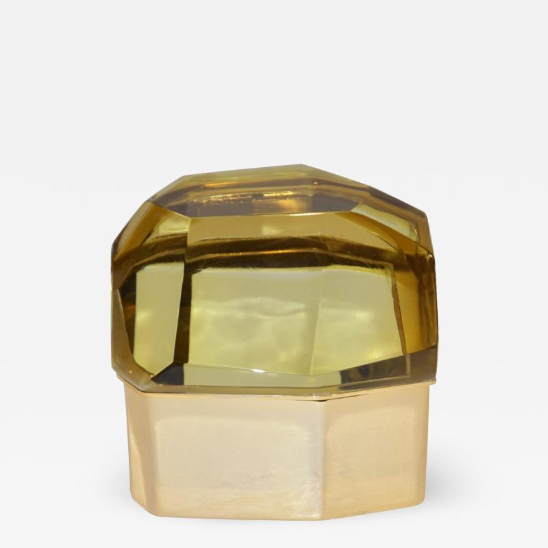 Toso Vetri D arte Toso Italian Modern Diamond Shaped Gold Murano Glass and Brass Jewel Like Box