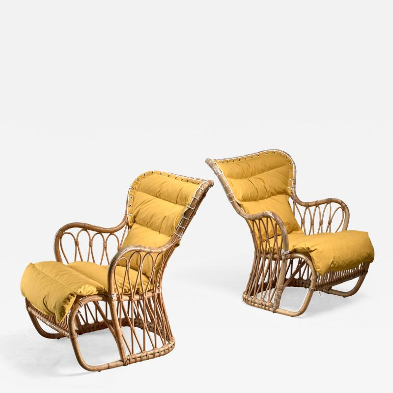 Tove Edvard Kindt Larsen Tove Edvard Kindt Larsen pair of bamboo chairs 1940s