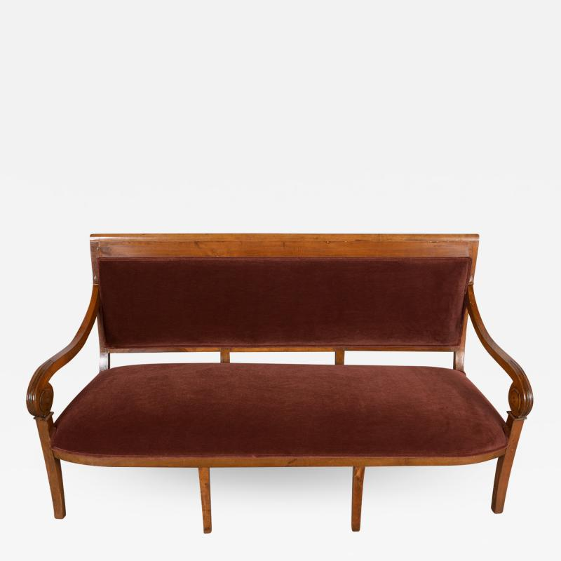 Traditional Circa 1830 French Empire Velvet Sofa