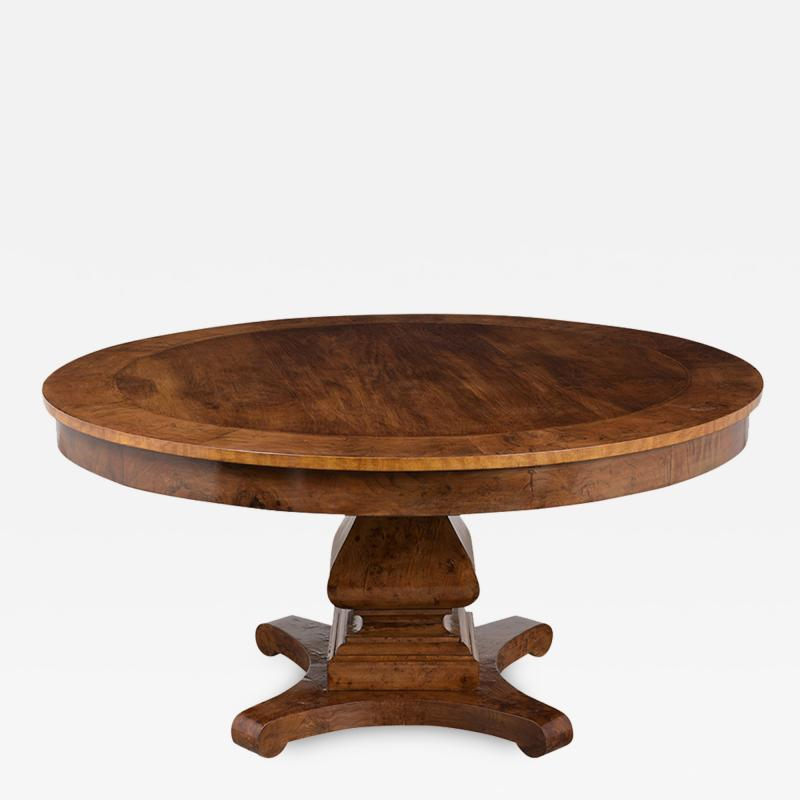 Traditional Empire Style Burl Wood Venners Round Dining Center Table