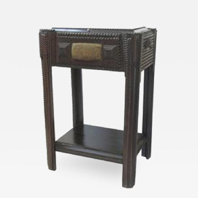 Tramp Art Sewing Stand Side Table