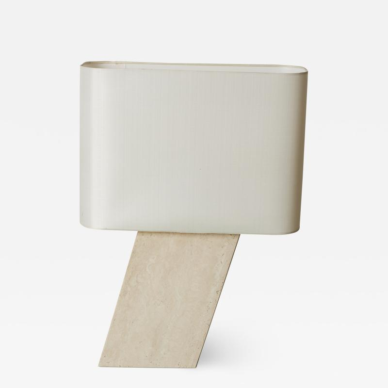 Travertine Cantilever Table Lamp Creme Silk Lampshade in the manner of Brueton