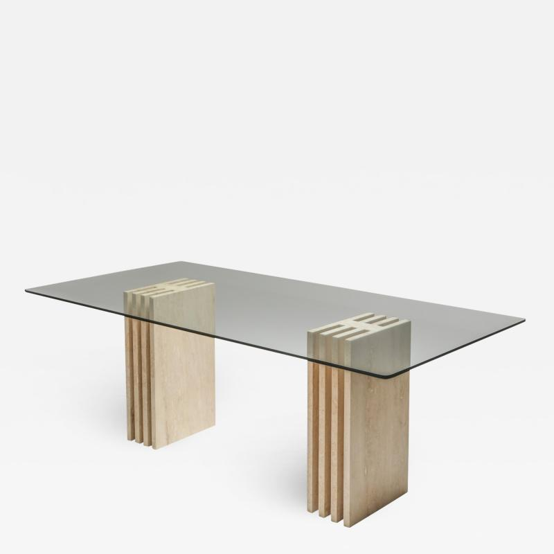 Travertine Postmodern Dining Table in the Style of Scarpa 1980s