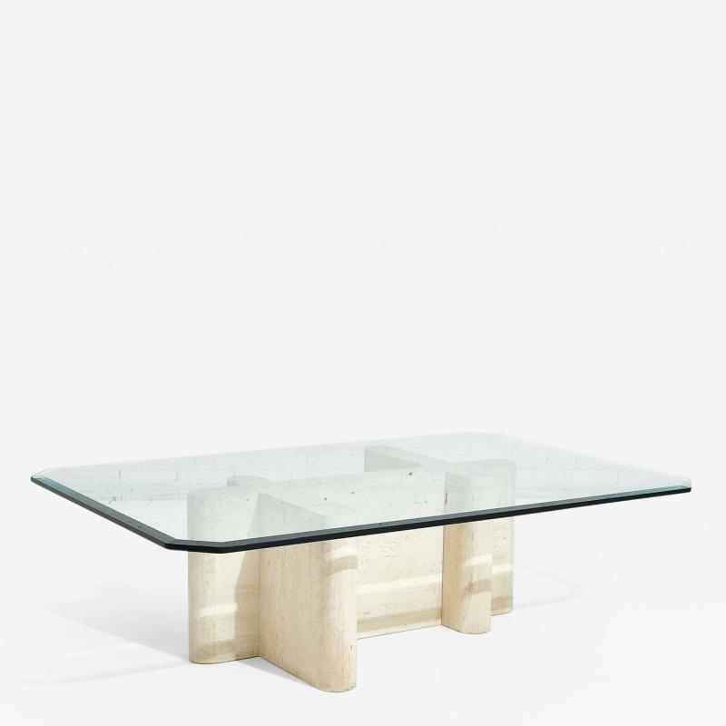 Travertine Sculpture Coffee Table Italy 1970