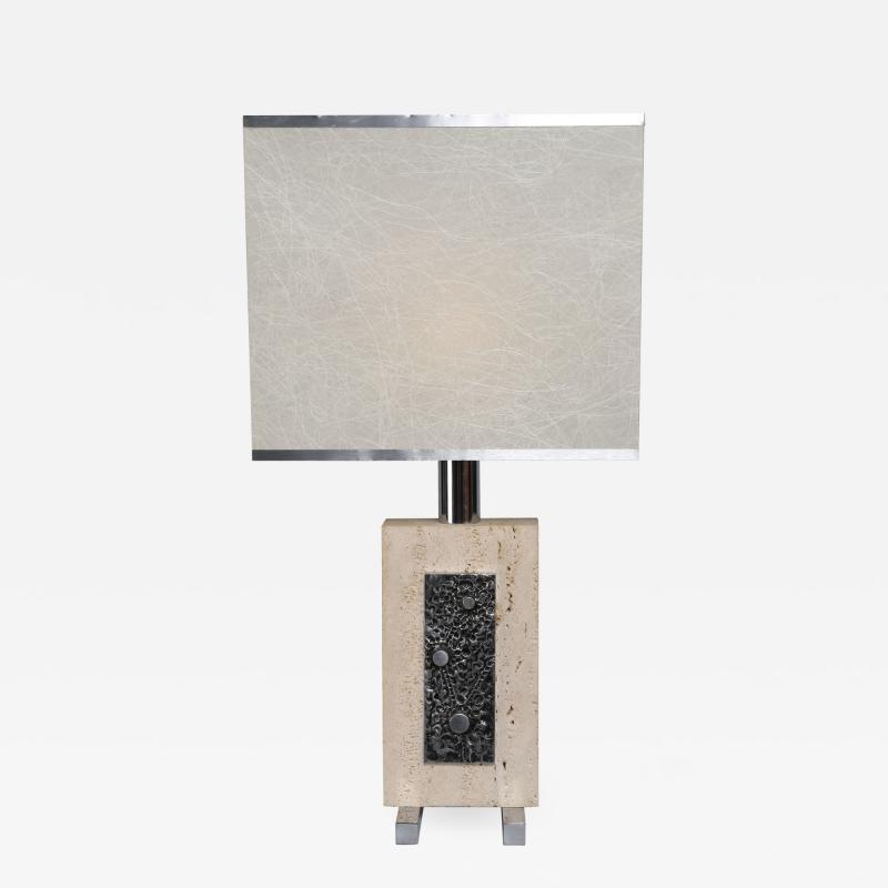 Travertine and Steel Italian Table Lamp