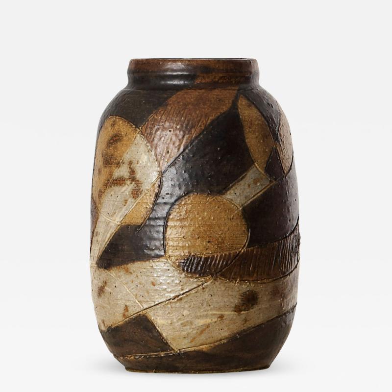 Trille J rgensen Exquisitel Textured Vase with Abstract Geometric Design