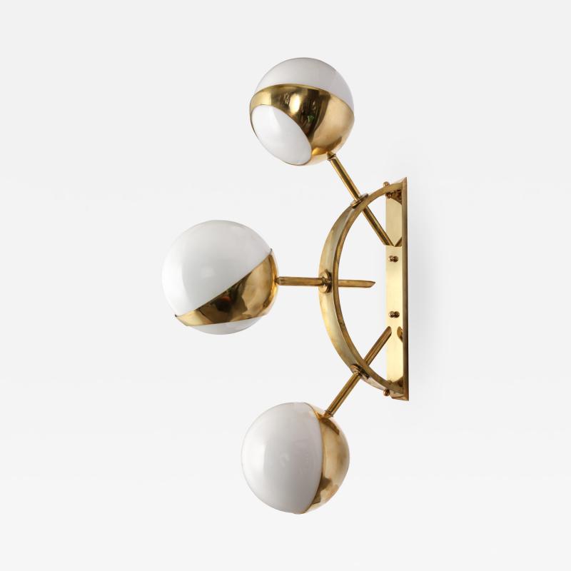 Triple Orb Brass Opal Glass Wall Lights in the Style of Stilnovo