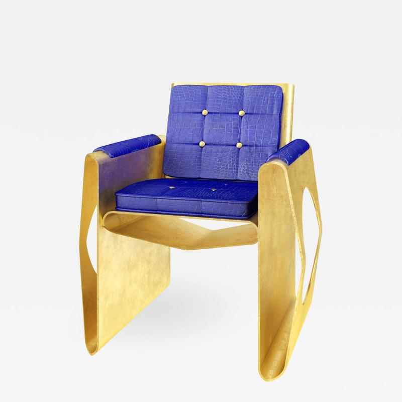 Troy Smith 21st Century Contemporary Hand Made Gold Leaf Crocodile Lounge Chair