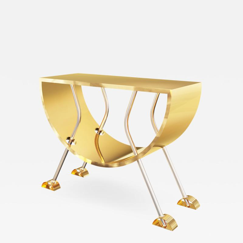 Troy Smith DOUBLE D CONSOLE IN BRASS AND STAINLESS STEEL BY ARTIST TROY SMITH