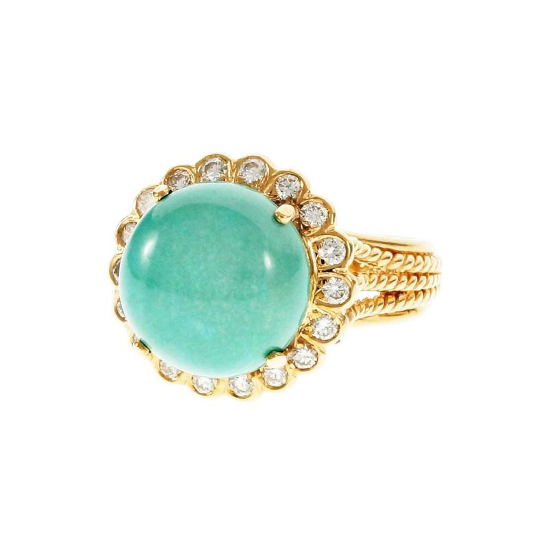 Turquoise Dome Diamond Yellow Gold Cocktail Ring