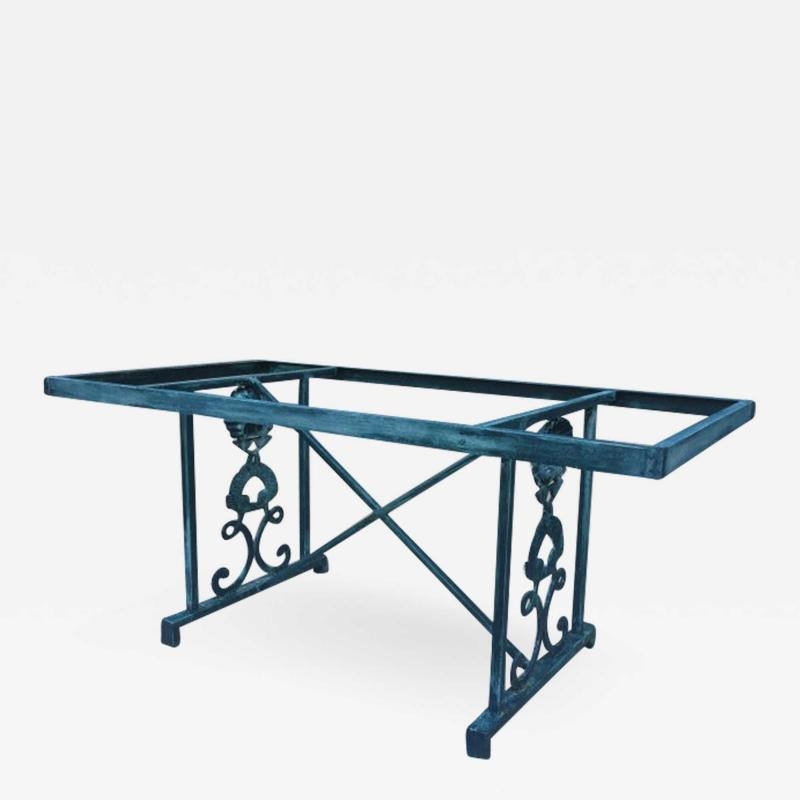 Turquoise Finish Aluminum Dolphin and Sea Shell Glass Top Dining Table