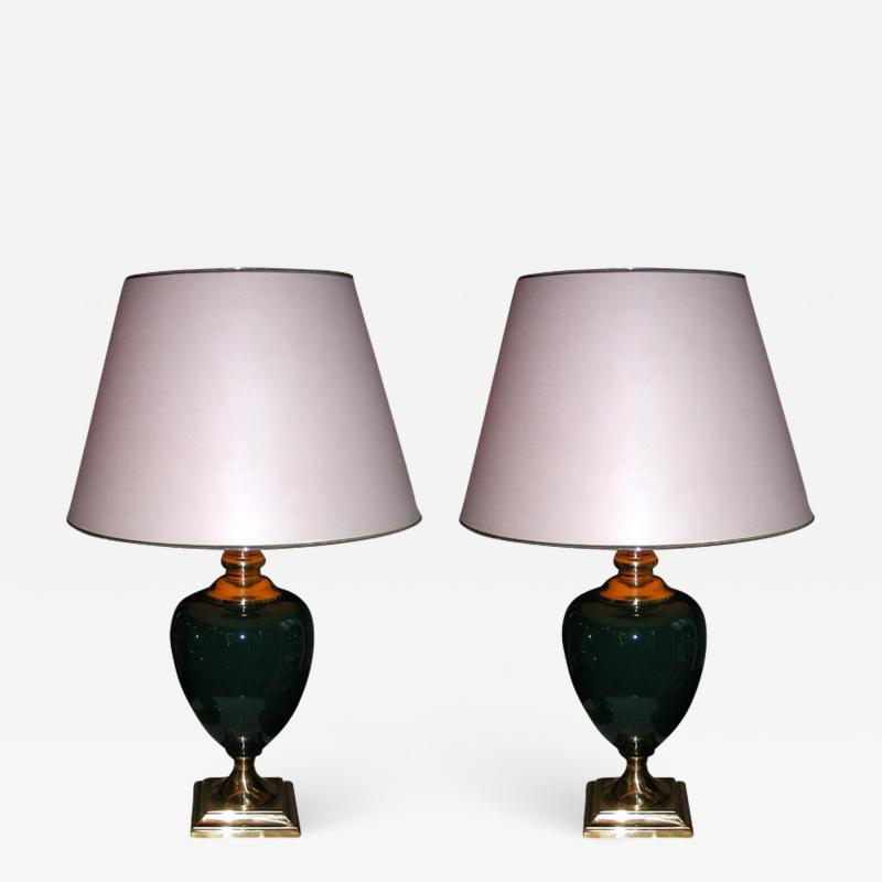 Two 1980s lamps in green ceramic